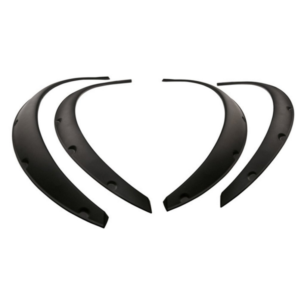4Pcs Universal Flexible Car Fender Flares Extra Wide Body Wheel Arches Wheel black Eyebrow Protector Lip Sticker Trim