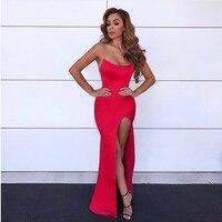 Sexy бретелек Красный вечерние платье спинки мягкий Макси-Платье с разрезом ноги платье без рукавов Bodycon Разделение сбоку Вечеринка платья