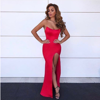Sexy Strapless Red Party Dress Backless Padded Maxi Dress Split Leg Gown Sleeveless Bodycon Split Leg Party Dresses