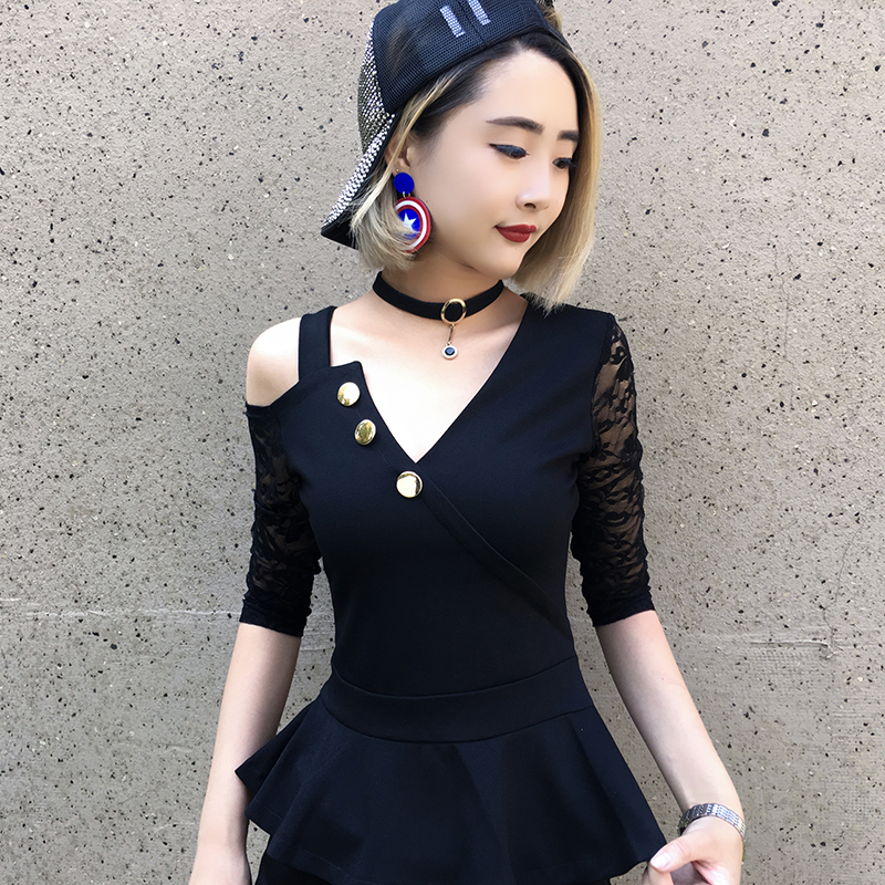 Sexy club summer tops for women 2019 Korean lace sleeve patchwork buttons design v neck black blouse peplum cold shoulder tops in Blouses amp Shirts from Women 39 s Clothing