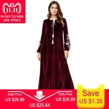 730beb5e5615f5 Siskakia Fluwelen Geborduurde Lange Jurk Herfst Winter 2018 Maxi Jurken  voor Vrouwen Moslim Dubai Arabische Casual Robes Eid Adh..