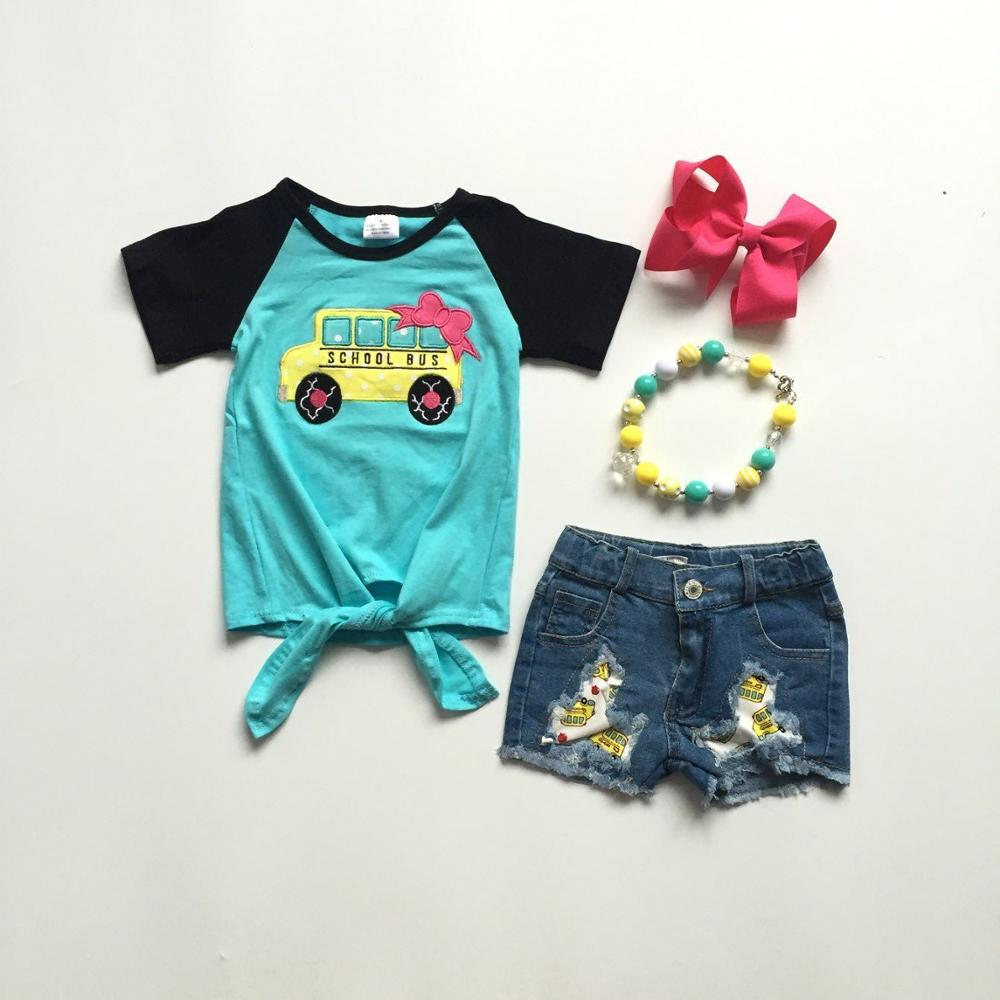 baby girls back to school clothes denim outfits jeans shorts qaua shirts school bus top girls boutique outfits with accessories 1