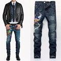 Phoenix Bordado Jeans Para Hombre Light Wash Biker Jeans Homme Slim Fit Straight Denim Pantalones Harlan Temor de dios Jean de Los Hombres