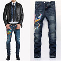 Phoenix Embroidered Jeans Mens Light Wash Biker Jeans Homme Slim Fit Straight Denim Pants Fear of god Harlan Jean Men