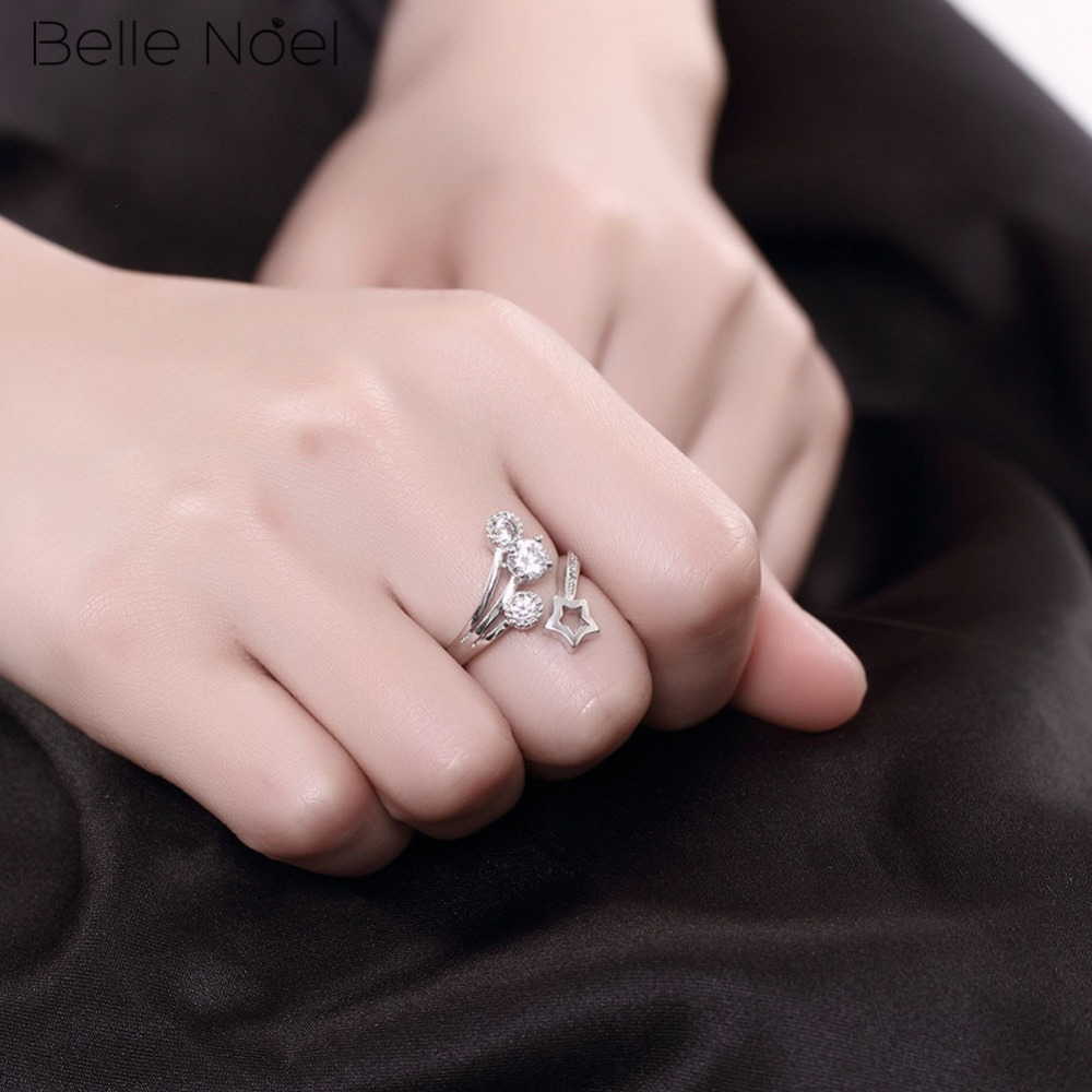 BELLE NOEL New Collection Pure 925 Sterling Silver Rings five ...