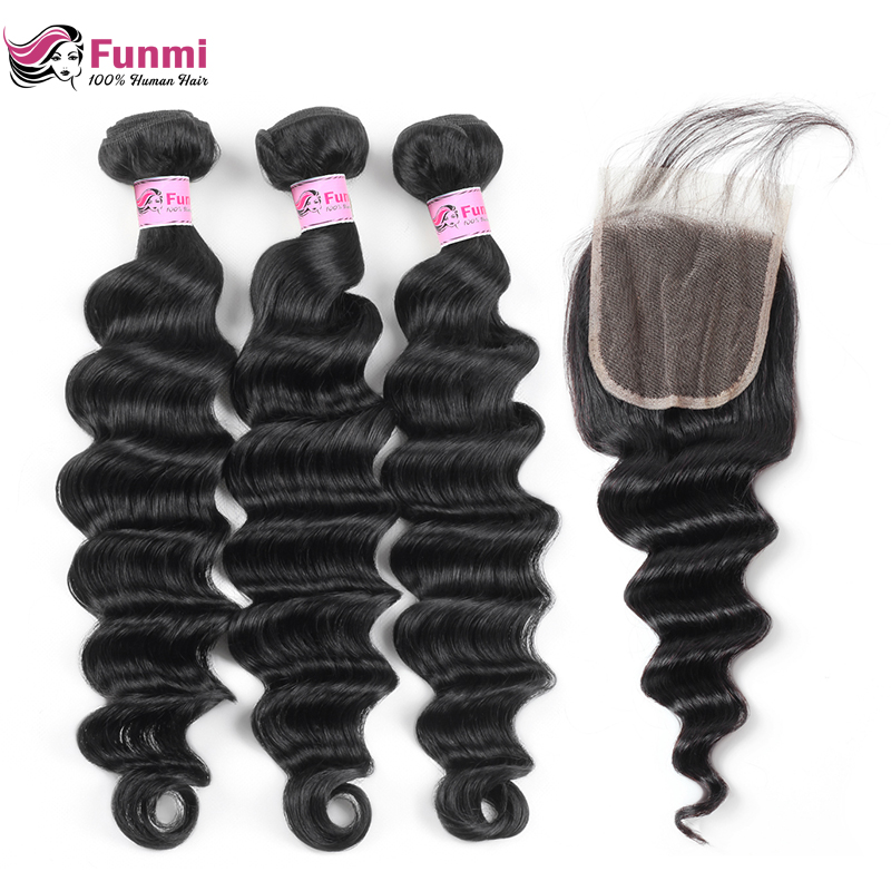 Funmi Hair Brazilian Loose Deep Wave 3 Bundles With Closure Double Weft Virgin Human Hair Bundles With Lace Closure 4X4 Inch