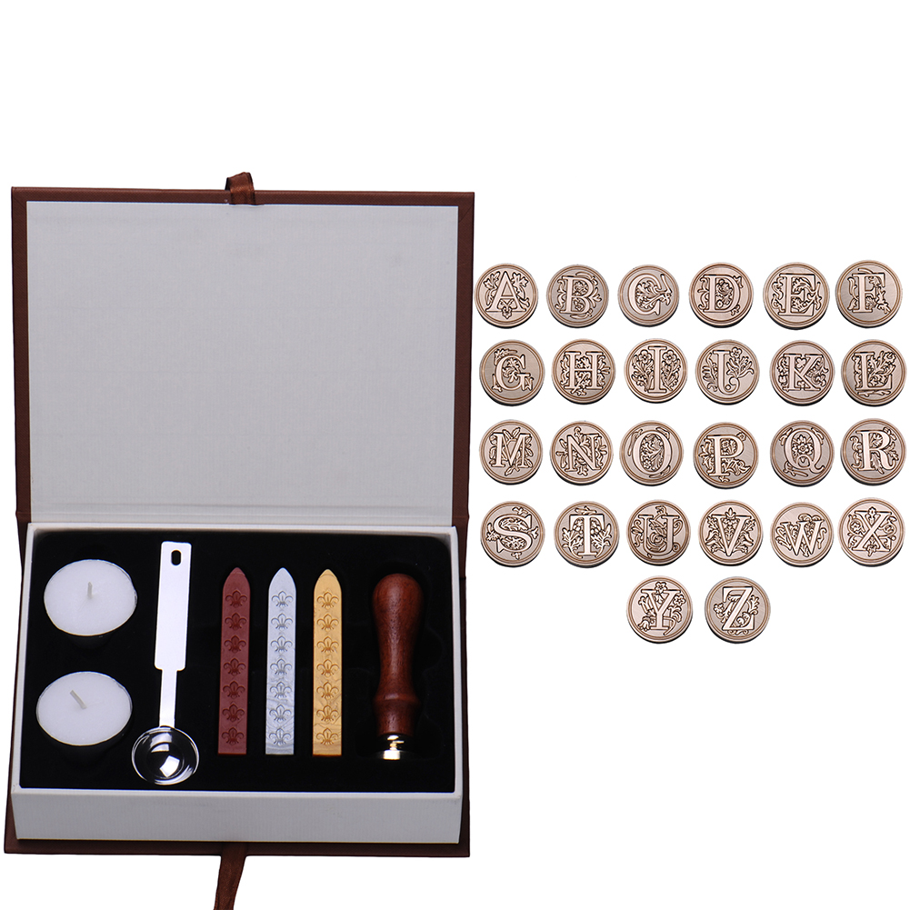 Hot DealsWax-Kit-Set Seal-Stamp Letter Alphabet Personalized Vintage Badge A-Z-Optional