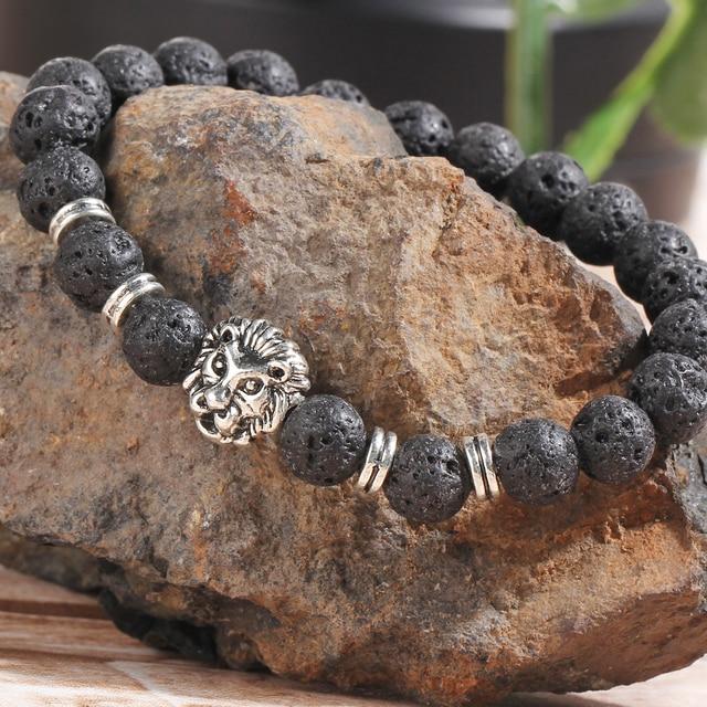 17KM Black Lava  Natural Stone Gold Color Lion strand Bracelet Femme Ethnic handmade Beads Bracelets Turkish Men Jewelry