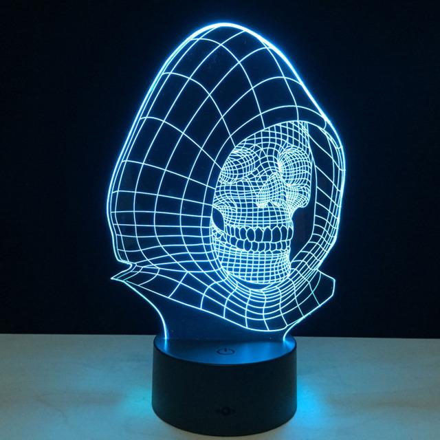 Lâmpada 3D Visual Efeito de Luz Muda de cor Luz Da Noite para o Partido Presente de Natal Decor (Místico Crânio)