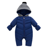 Baby Solid Rompers Winter Baby Boy Snowsuit Romper Toddler Cotton One Piece Suit Infant Warm Hoody