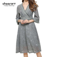 2017 Spring Women Black Grey Lace Deep V Neck Dress Vintage Bodycon Evening Party Knee Length