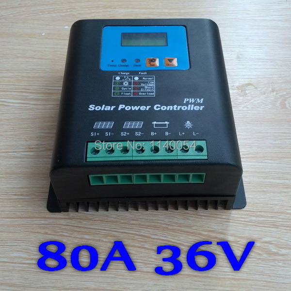 80A Solar Controller PV panel Battery Charge Controller 36V Solar system Home indoor use,PV Dual Input,LCD Display 100w folding solar panel solar battery charger for car boat caravan golf cart