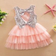 Рождественское платье для маленьких девочек; костюм; платье-пачка с открытой спиной для маленьких девочек; детское платье принцессы для свадебной вечеринки и дня рождения; От 1 до 7 лет
