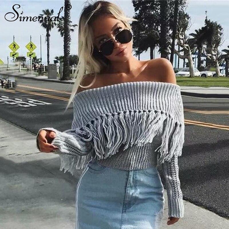 Simenual Knit Tassel Sweater ZY18805