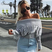 Simenual Fringe off shoulder sweater 2018 winter fashion pullover female jumpers knit sexy tassel women sweaters and pullovers