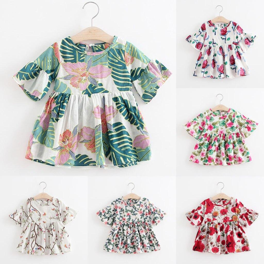 MUQGEW 2019 Baby Girl Clothes Toddler Kids Baby Girls Dress Floral Print Flare Sleeve Princess Dress Dropshipping Roupa Infantil