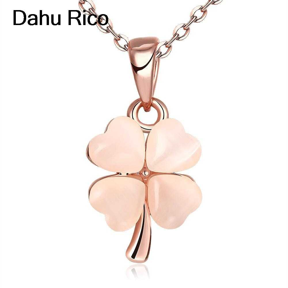clover collane kettingen pendant colgantes women boho white semi-precious stone rosegold dorados gold color Dahu Rico necklaces