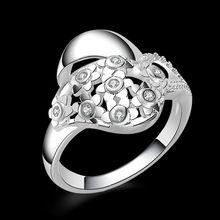 Crystal Wedding Rings anel Silver Plated CZ Fashion Brand Rhinestone Jewelry For Women R108