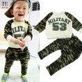 Roupa nova primavera 53 camuflagem terno do bebê meninos e meninas das crianças letras T-shirt + calças conjunto ocasional