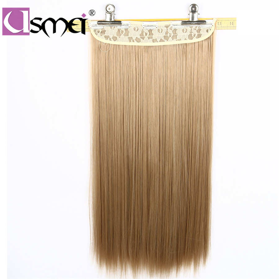 USMei Wig One Piece Of Synthetic Clip In Hair Extensions Long Straight High Temperature False Hair Hairpieces For Women