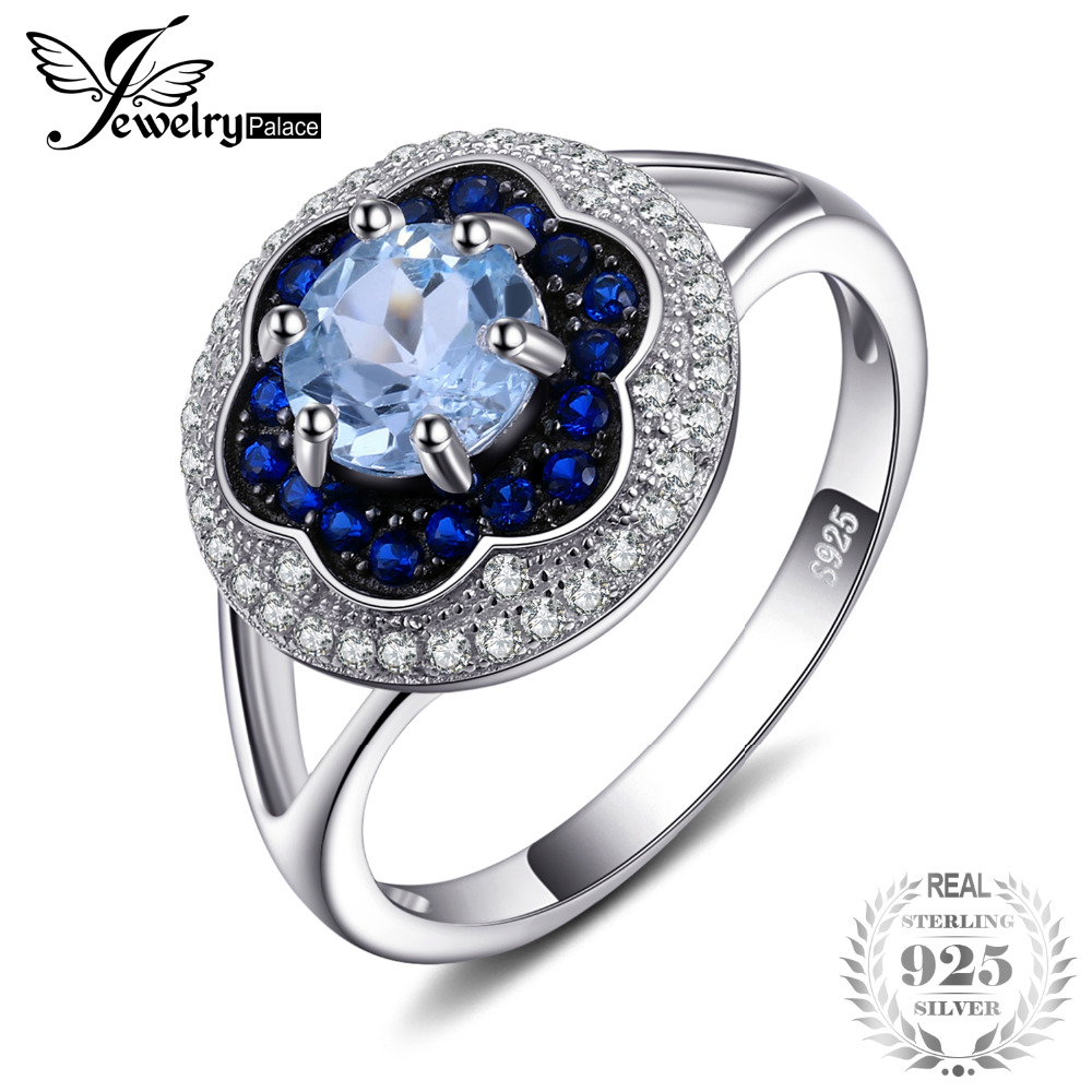 Jewelrypalace Spark Flower 1ct Genuine Sky Blue Topaz Created Blue Spinel Cluster Halo Rings 925 Sterling Silver Fine Jewelry