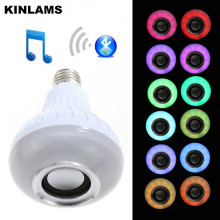 KINLAMS E27 Smart RGB Wireless Bluetooth Speaker Bulb Music Playing Dimmable LED  85V-265V Bulb Bombilla Ampoule Light Lamp