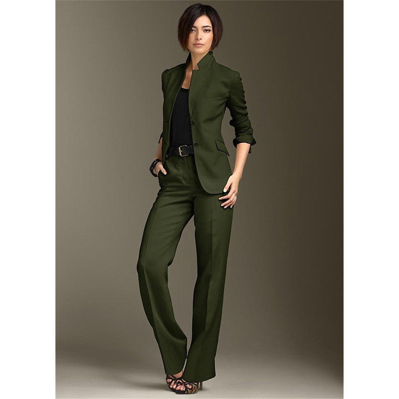 Jacket Pants Dark Green Women Business Suits Chinese Collar Formal Ladies Pant