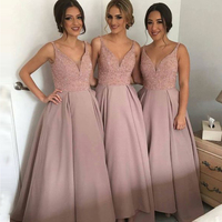 Vestido Dama De Honor 2017 Custom Made Pink Satin Beading Perals Long Bridesmaid Dress Formal Party Dress