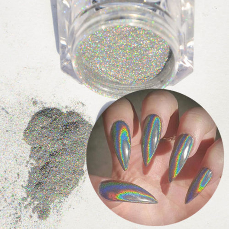 Holografic cu laser de unghii Glitter Pulbere Holo Rainb Sfaturi de - Manichiură