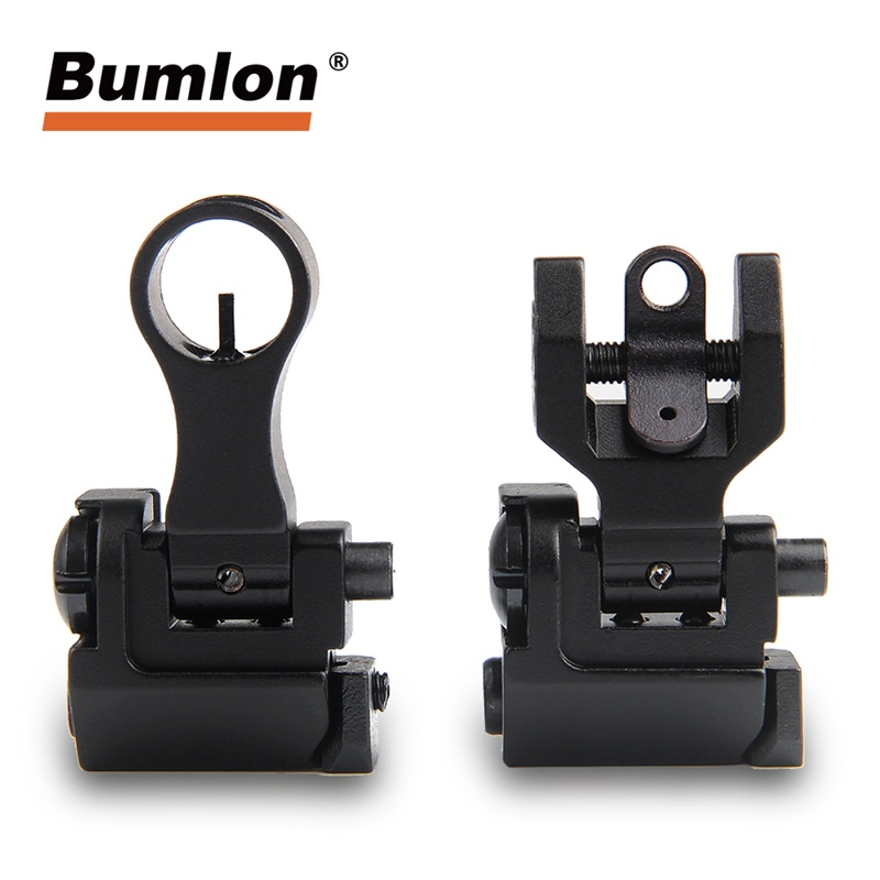Flip Up Sights Backup Iron Sight Lightweight Durable Folding Down Elevating Windage Adjustment for Rifle Shooting Accuracy 27 8