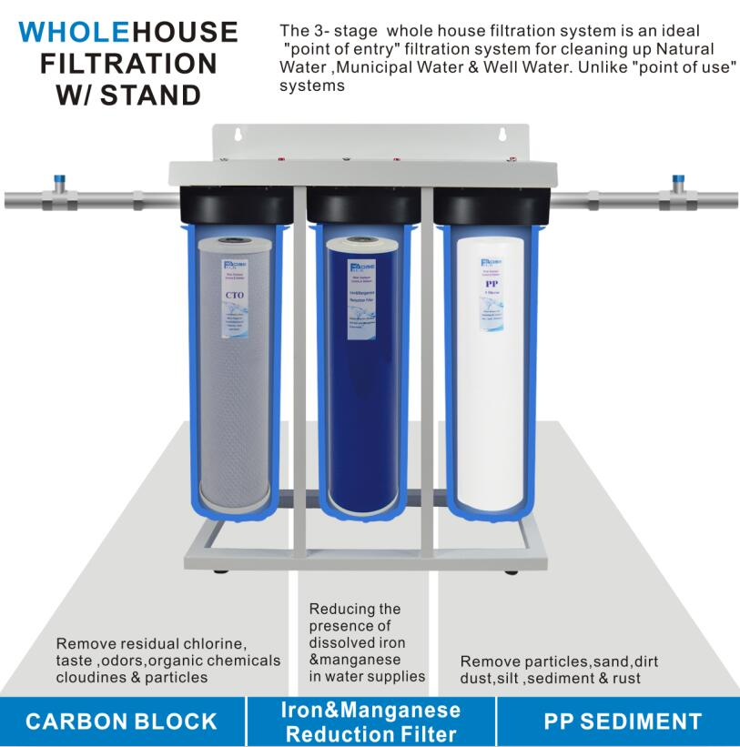 US $409 0 |3 Stage Whole House Water Filtration System 1 1/2 inch port with  20