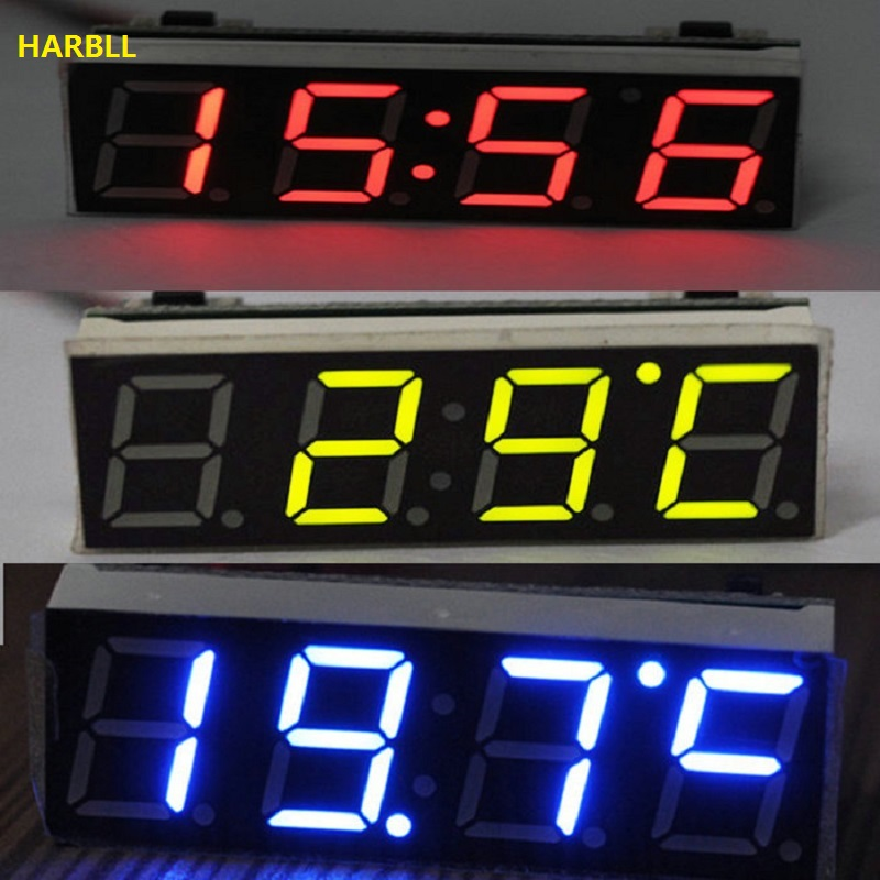 HARBLL 12V 24V Car Auto Digital Led Electronic Time Clock Thermometer Voltmeter Three Colors