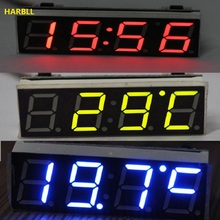 HARBLL 12V 24V Car Auto Digital Led Electronic Time Clock + Thermometer + Voltmeter Three Colors