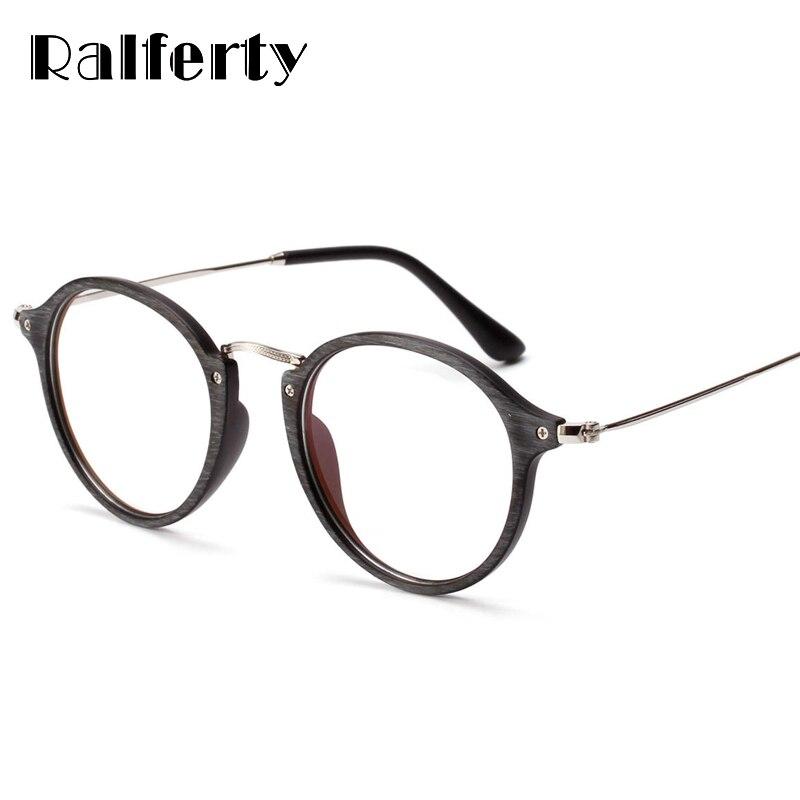 Ralferty Imitation Wood Glasses Frame Women Men Plastic Round Eyeglasses Frames Optic Myopia Clear Oculo Feminine Masculine 3127