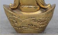 Ev ve Bahçe'ten Statü ve Heykelleri'de S1019 Şanslı Çin Bronz Happy Laugh Maitreya Buddha On Ejderha Phoenix Yuanbao Heykeli