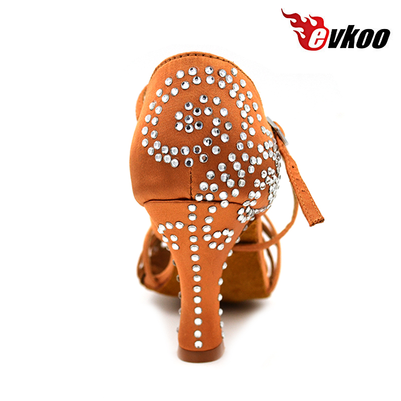 Evkoodance Brown With Rhinestone Salsa Latin Zapatos De Baile Heel Height 8cm Comfortable Latin Dance Shoes Woman Evkoo-411 free shipping my2n j ac 220v coil 5a 240v ac 28v dc 8 pin dpdt electromagnetic relay w socket
