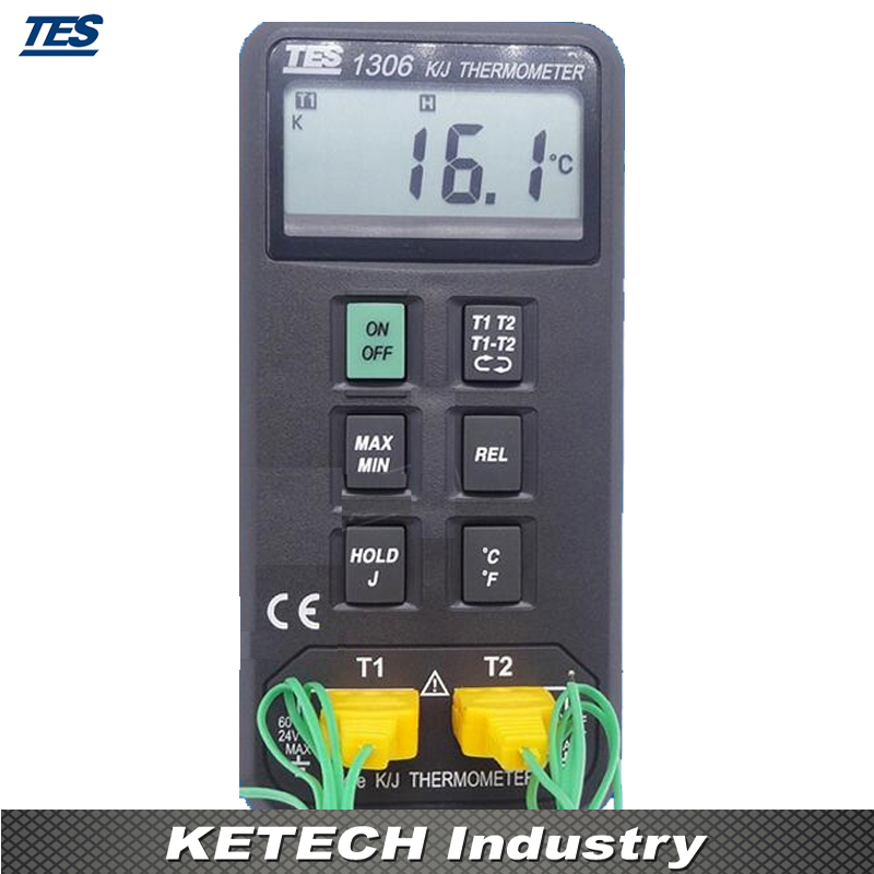 Digital Industrial Thermometer (K/J Type Thermocouple Input) TES-1306 mastech ms6514 dual channel digital thermometer temperature logger tester usb interface 1000 set data k j t e r s n thermocouple