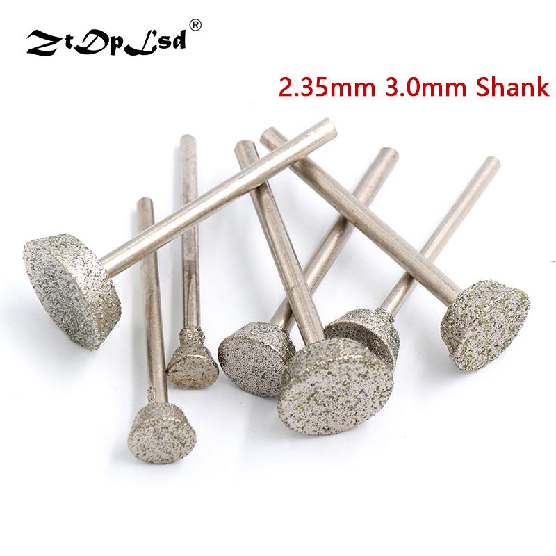 1Pcs Diamond Grinding Head Burrs Grind Inverted Trapezoid Stone Jade Engraving Carving Peeled Rotary Tools Burs Mini Drill Bit