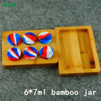 6*7ml Nonstick Silicone Oil Wax Concentrate Container Jar Vial Screw Top round storage box with wooden/bamboo tray 5sets