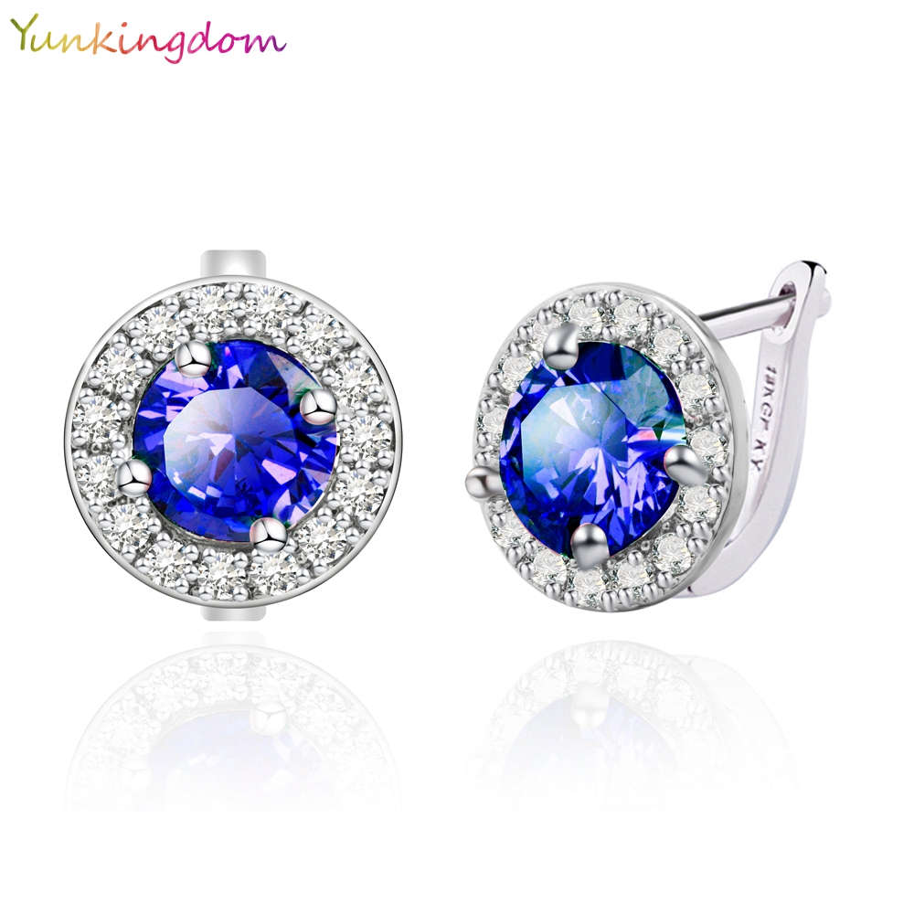 Yunkingdom Round design White Gold plated Fashion Jewelry Cubic Zirconia zircon crystal Wedding Hoop Earrings Woman 5 Colors - yunkingdom Official Store store
