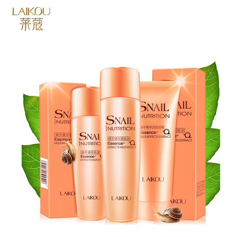 LAIKOU Snail Essence Nutrition Extract Set Multi-effect 3pcs Cosmetics Facial Cleanser+Toner+Emulsion Moisturizing Set