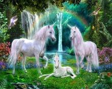 Купить с кэшбэком Beibehang Custom wallpaper mural green forest rainbow grass white horse horse room background wall unicorn mural papel de parede