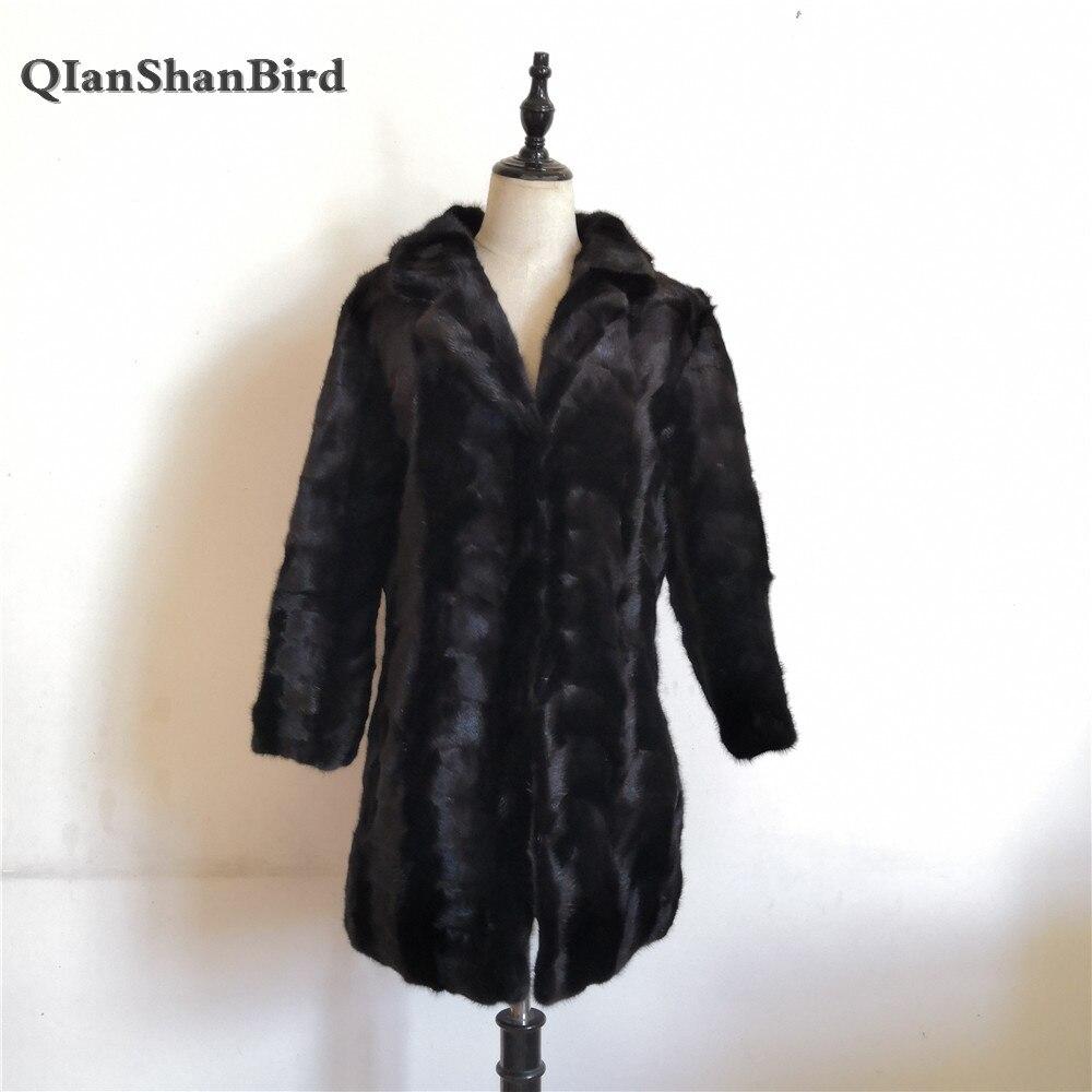 Noir Naturel 2018 Long Costume Manteau Col De Paragraphe Fourrure Luxe Chaud Femmes 100 Réel Des Vison D'hiver aqarPwS