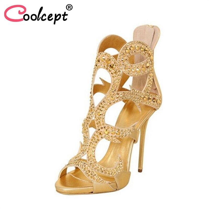 Coolcept Size 34-45 Women High Heel Sandals Open Toe Rivets Zipper Bling Female Sandals Sexy Elegant Party Club Footwear
