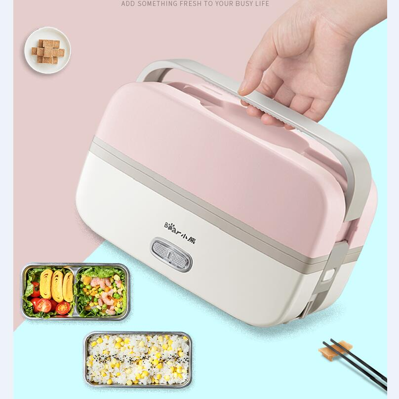 2L Electric Lunch Box Pluggable Heating Insulation Double Layer Cooking Rice Cooker Preservation Separate Liner bear electric lunch box portable vacuum three layer automatic insulation heating cooking stainless steel rice cooker