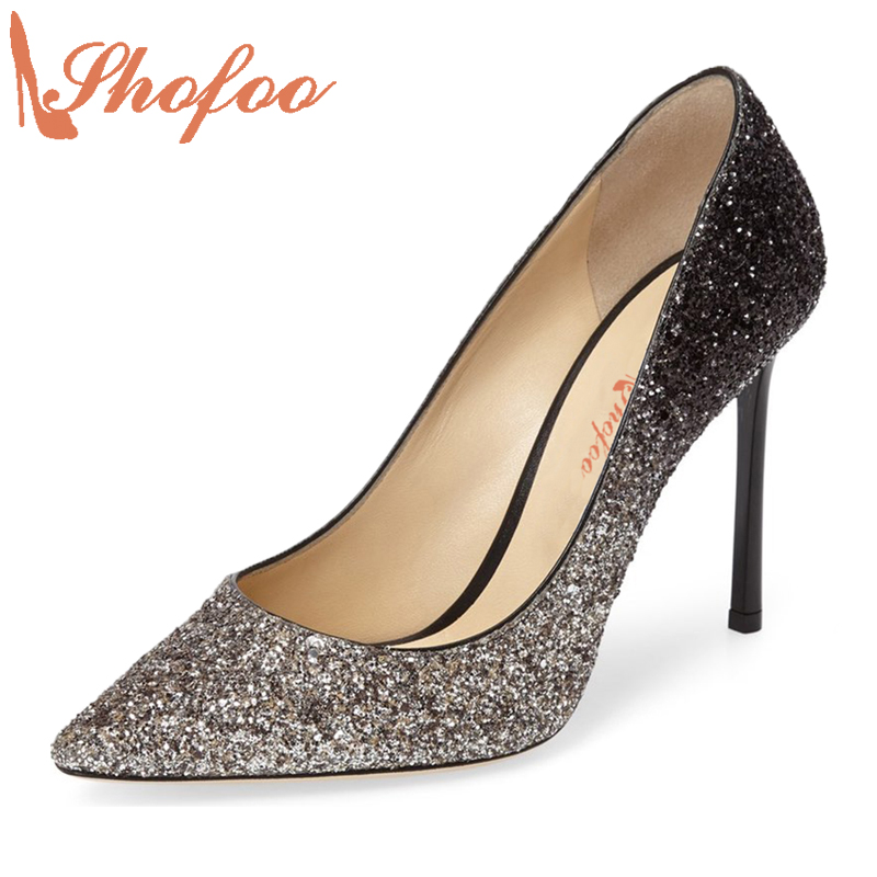 ФОТО Shofoo New Women Spring Autumn Fashion Gray Shoes Gradient Glitter Crystal Satin Pointed Toe Pumps Supper High Heels Size 43