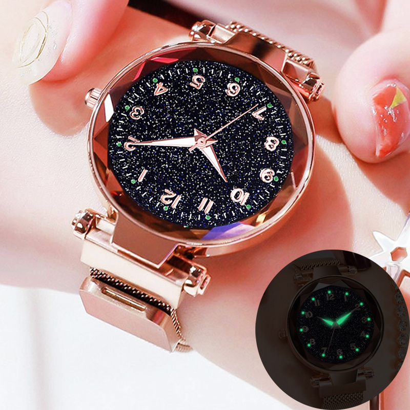 Fashion Women's Starry Sky Watches Magnetic Buckle Mesh Belt Analog Quartz Watch Women Dress Luminous Clock Relogio Feminino