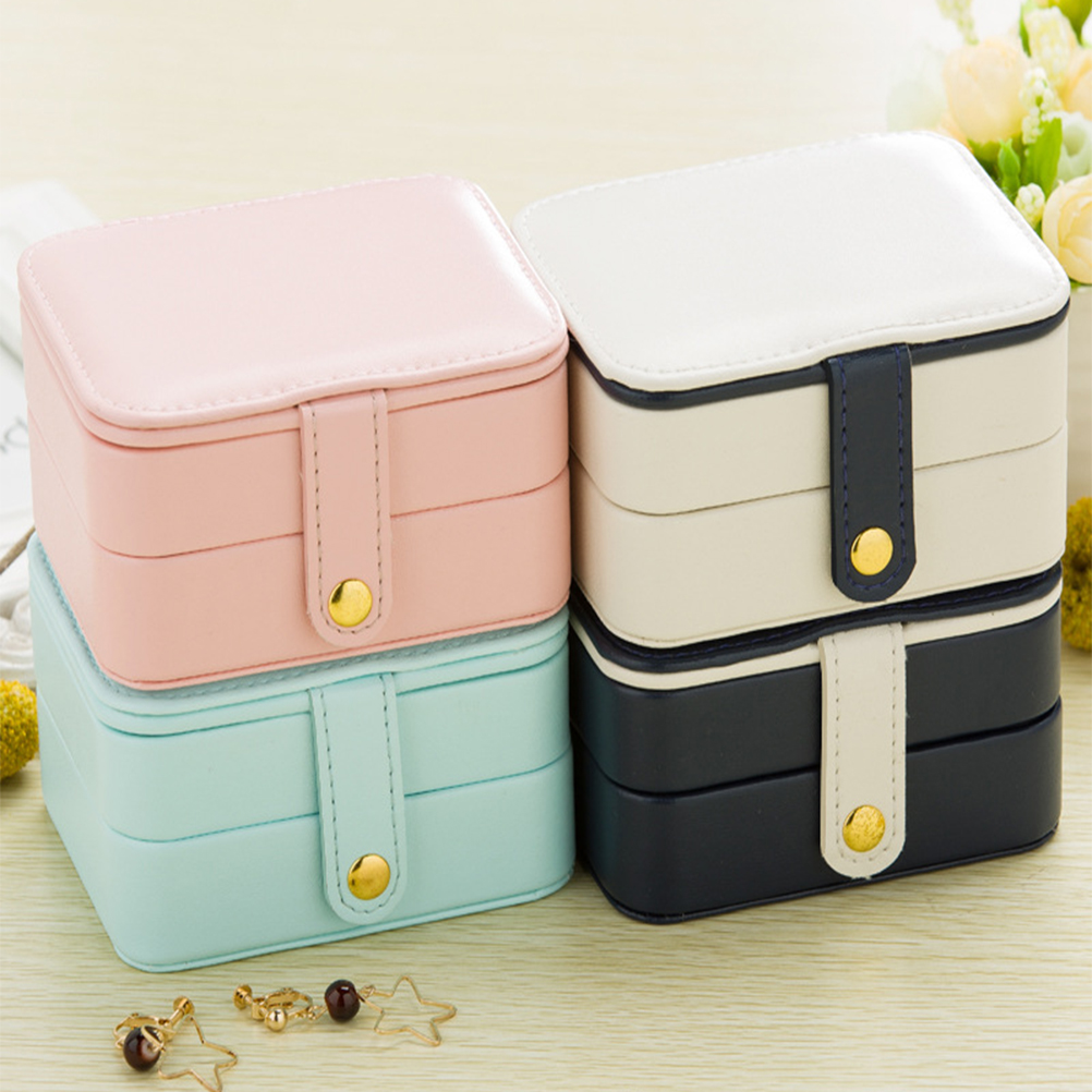 Portable Travel Jewelry Box Necklace Organizer Earring Ring Holder PU Leather Jewelry Storage Case with Mirror Gifts цена 2017