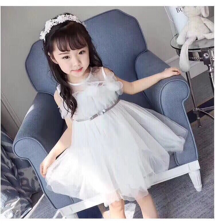Summer Sleeved Flower Bow Infant Kids Baby Bebe Girls Lace Vest Dresses Princess Tutu Birthday Children Clothes Kids Party Dress
