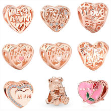 2019 new 1pc mother's day gift rose pink gold mom son love life dora bear diy bead Fit Pandora Charm Bracelet for women F053(China)
